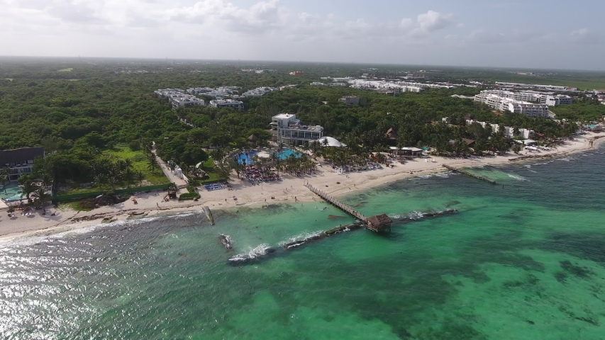 Drone over Xcalacoco Beach in the Riviera Maya Mexico | Shutterstock HD Video #1042957447