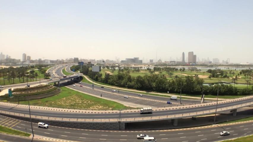 Dubai, UAE, 2019: Dubai timelapse with the downtown skyline on the background