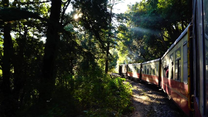 Historic train on the way to the Shimla, UNESCO World Heritage Site, Himachal Pradesh, India. | Shutterstock HD Video #1043007694