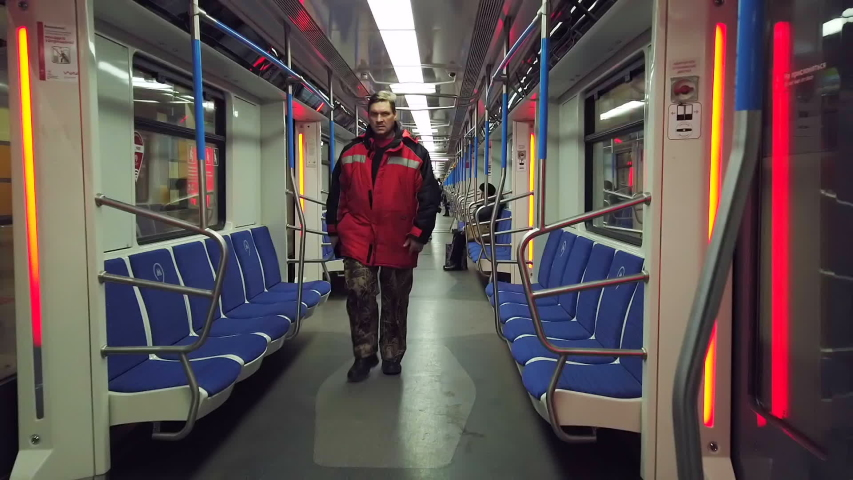 Moscow, Russia-December 14, 2019: movement on the modern car of the Moscow metro train. Hyperlapse