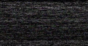 Old VHS Glitches and Static Noise on the black Background. TV Noise Footage, analog signal with bad interference