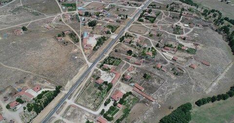 Village and Vast Field Aerial View