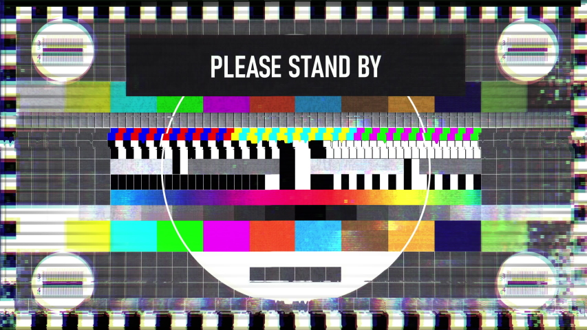 Please stand by text on TV screen, maintenance, no signal, silence, emergency. TV static classic pattern | Shutterstock HD Video #1043035969