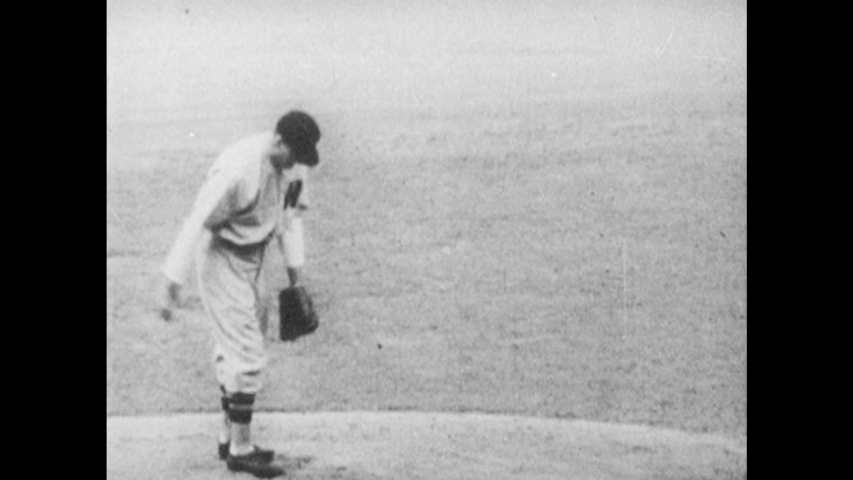 1960s: pitcher winding up and throwing, Babe Ruth hits homerun and runs around bases, players posing together