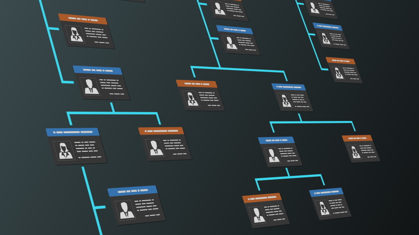 Company organization chart with employee badges, scrolling on screen