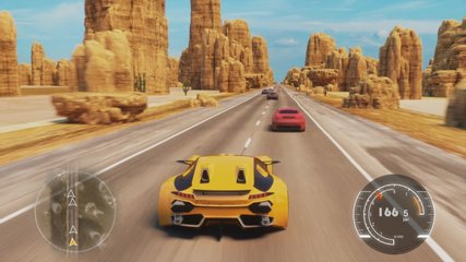 Speed Racing 3d Video Game Imitation With Interface. Sports Cars Compete On The Desert Road With Rocks. Gameplay Screen.