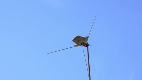old antenna sky antenna blue