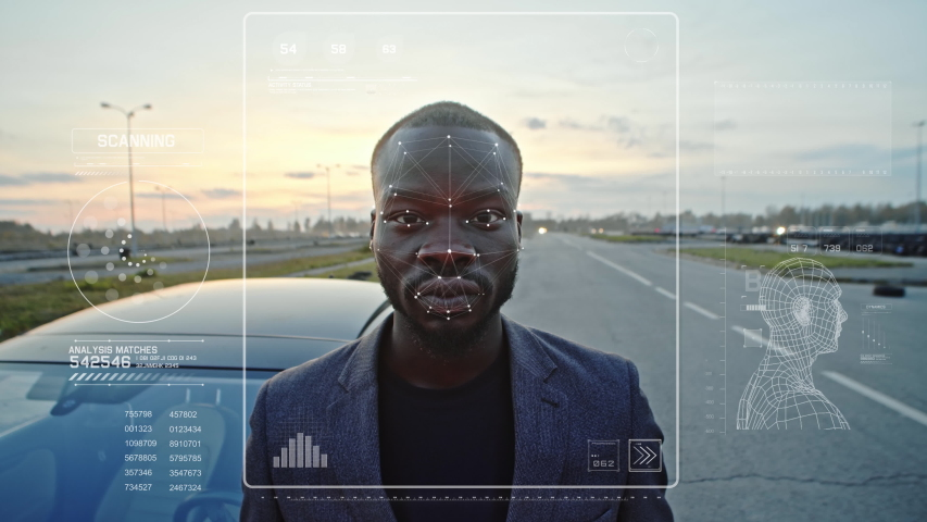 Biometrical Facial Recognition System Scanning Black Man Face creating Plexus Tracker Points. Face Id. Authentication Granted Concept. Future security user information protection. Digital technology Royalty-Free Stock Footage #1043079505