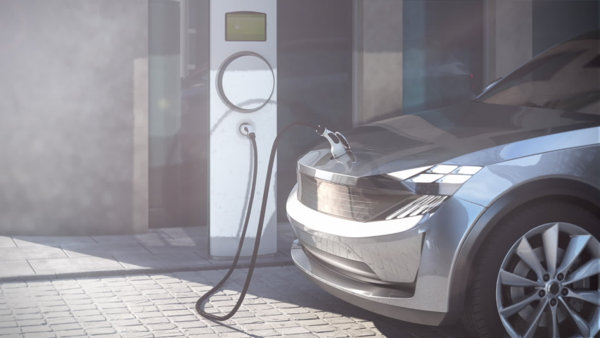 Electric vehicle SUV charging on public parking lot in a city 3d rendering | Shutterstock HD Video #1043107279