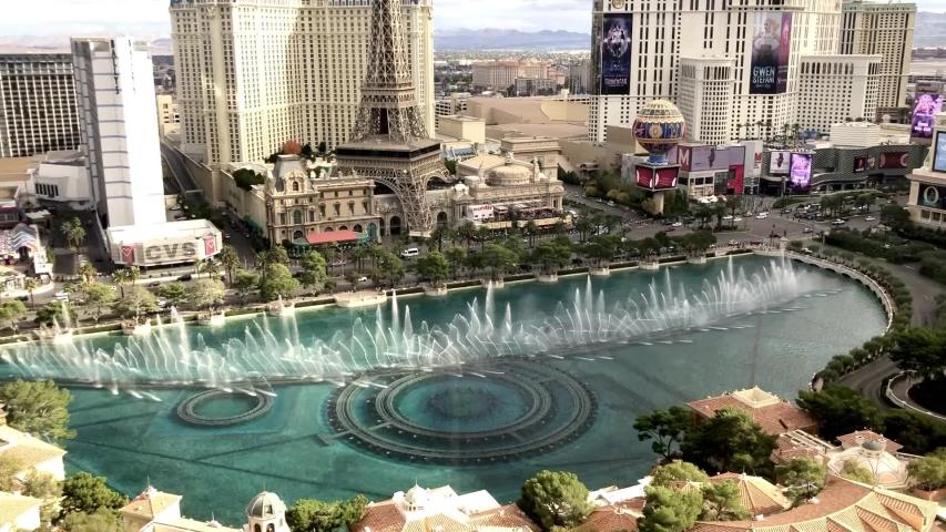 Las Vegas, Nevada / USA - 12.08.2019: Fountains of Bellagio show in Las Vegas Strip.