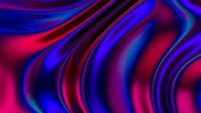 Stylish 3D Abstract Animation Color Wavy Smooth Wall. Concept Multicolor Liquid Pattern. Purple Blue Wavy Reflection Surface Macro. Trendy Colorful Fluid Abstraction Flow. Beautiful Gradient Texture