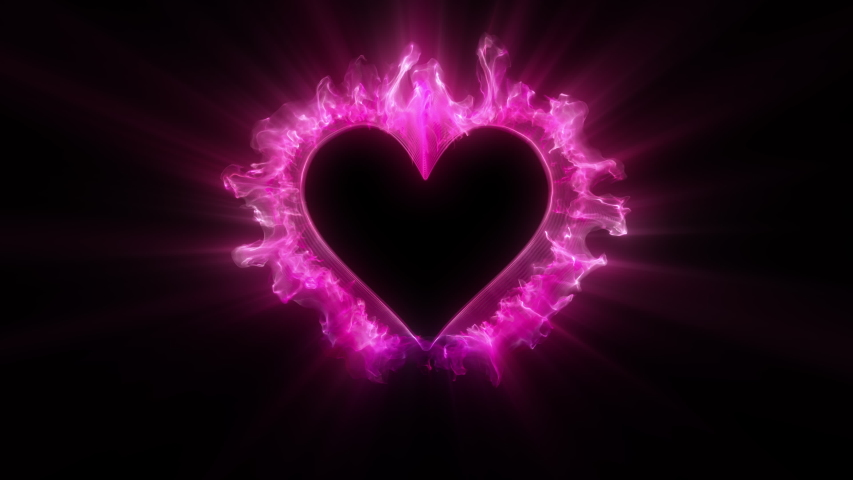 Pink color glowing particle burst. Vivid colored powder smoke shockwave. Heart shaped Valentine's Day gas paint explosion. Logo and copy space alpha channel 4k 60fps. Isolated on black copyspace