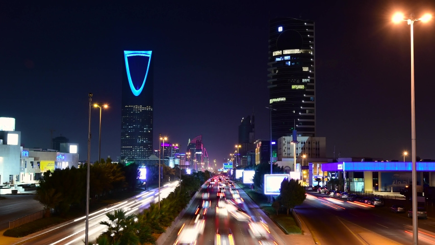 Riyadh, Saudi Arabia - December 20th 2019: Riyadh City the capital of Saudi Arabia. Time lapse video on the main strait King Fahd Str, and Kingdom Tower.