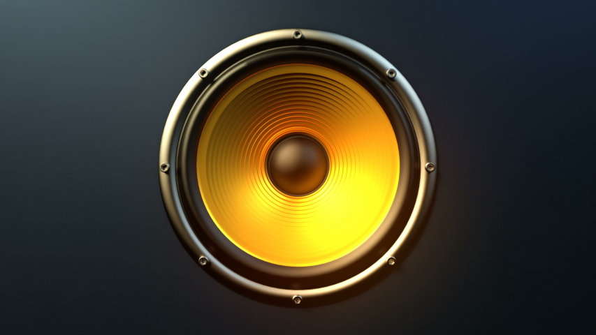 Single audio speaker with yellow orange membrane playing modern music at 90 bpm frequency producing loud rhytmic sound. Front view close-up. Suitable as concept for rock dance music party.