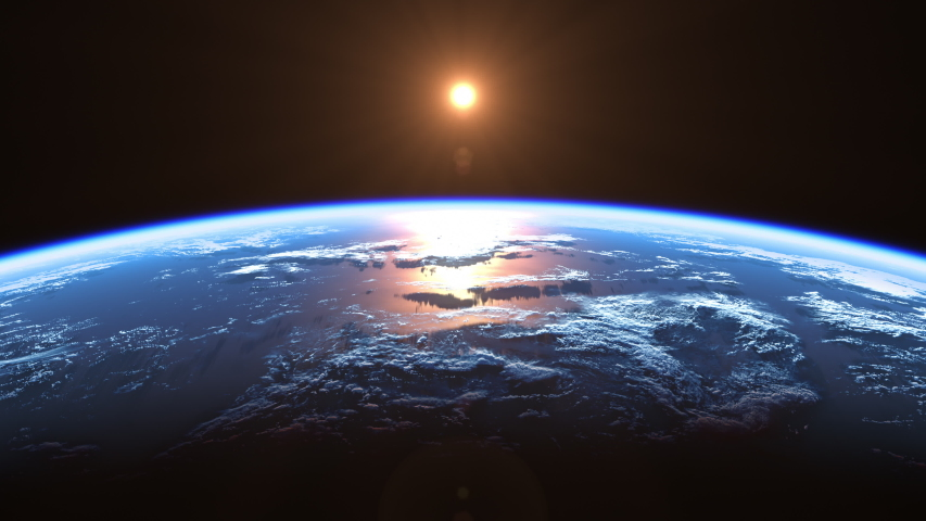 Sun Above Planet Earth. View From Space. Ultra High Definition. 4K. 3840x2160. Seamless Looped. Realistic 3d Animation.