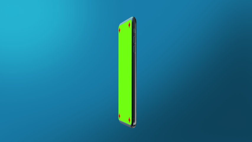 Phone green screen rotation in the centre with a blue background smartphone technology cell phone display with luma white and black key 3D rendering