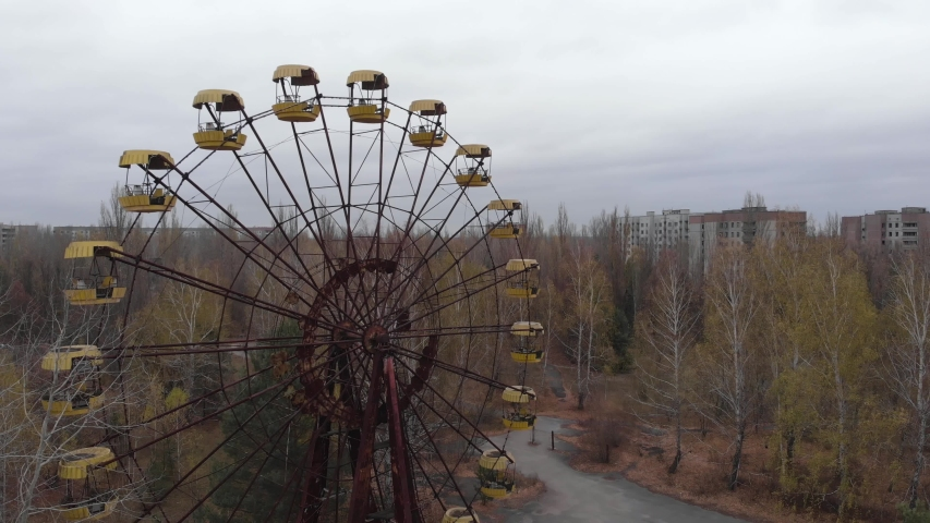 Chernobyl Exclusion Zone. Pripyat. Aerial. Abandoned ferris wheel | Shutterstock HD Video #1043237938
