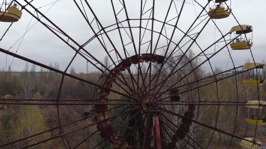 Chernobyl Exclusion Zone. Pripyat. Aerial. Abandoned ferris wheel | Shutterstock HD Video #1043237971