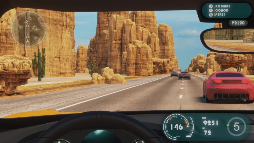 Speed Racing 3d Video Game Imitation With Interface. Sports Cars Compete On The Desert Road With Rocks. Gameplay Screen. View From The Inside The Car