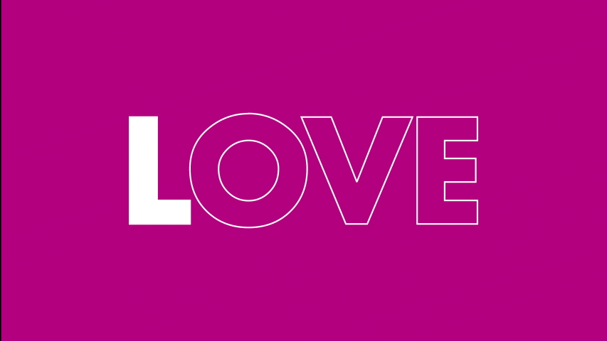 Valentine's day social media message. Love animated text grows from skinny to bold with pop pinks and purple colors in the background.