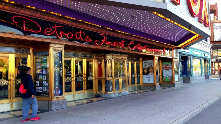 """Detroit, Michigan/USA - September 18, 2019: """"Detroit's Finest Entertainment"""" - Sidewalk view of front entrance and box office at Fox Theater advertising Jane Fonda and Lily Tomlin"""