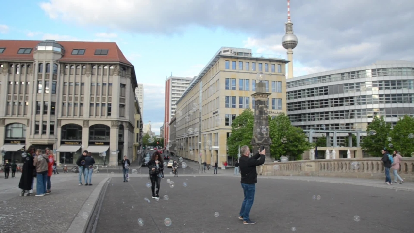 Berlin, Germany 06 May 2019: Friedrichs Bridge. Street, people, tourists, architecture and buildings.