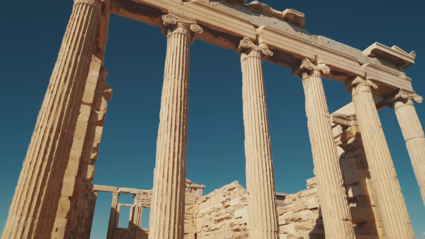 Ancient greek temple ruins of Erechtheion at the Acropolis in Athens, Greece