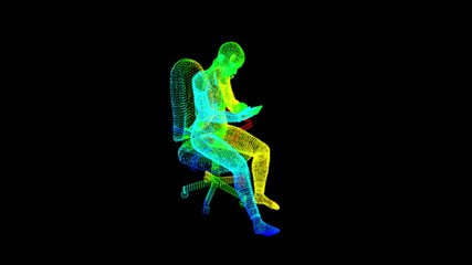 Holographic futuristic woman using smart phone sitting on a chair 4K Alpha Channel with transparent background UHD Full HD video Clip