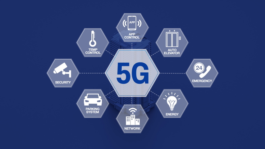 '5G technology' hexagon information icon on Intelligent Smart building. 4k animation. 2. Royalty-Free Stock Footage #1043347903