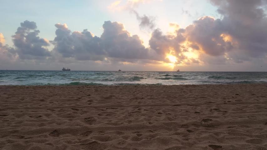 4K Florida Sunset Calm Relaxing Peaceful Ship on Horizon Fort Lauderdale   Shutterstock HD Video #1043367760