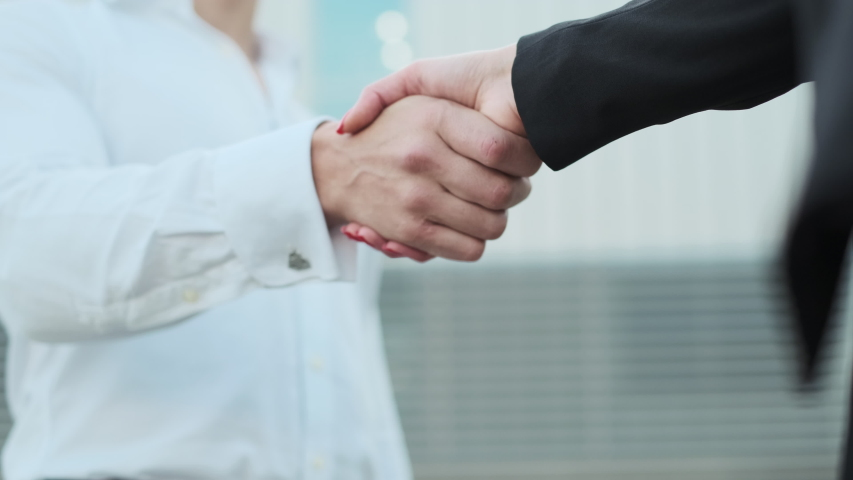 Handshake Of Man And Woman. Consolidation Of Business Agreement. | Shutterstock HD Video #1043379061