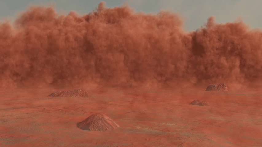 Sandstorm in the desert a 3d animation with reddish sand