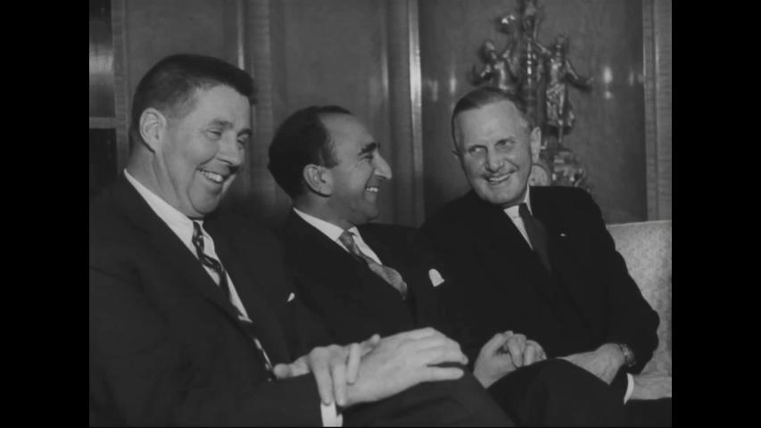 CIRCA 1962 - Ambassador Holmes holds an informal meeting with American and Iranian political figures, including Abbas Aram.