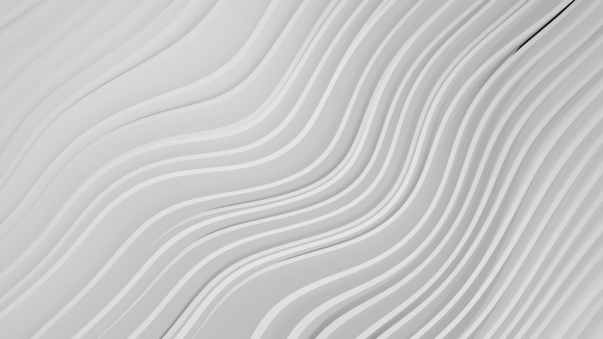 3D animation of White and gray stripes background waving and swaying. Future geometric patterns motion background. Rendering in 4K. Room for text.