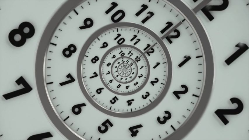Clock Tunnel Endless Time Zoom Royalty-Free Stock Footage #1043456632