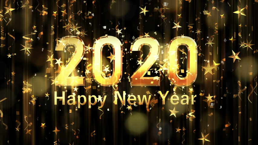 Happy new year 2020 sparkling year lettering with fireworks sparks and particles background. Merry Christmas and Happy New Year background, 4K