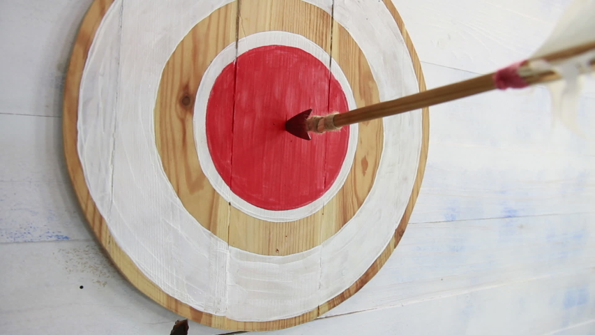 Wooden arrow, with an iron tip and white plumage, hit right on target, in wooden shield with a red circle inside   Shutterstock HD Video #1043490328
