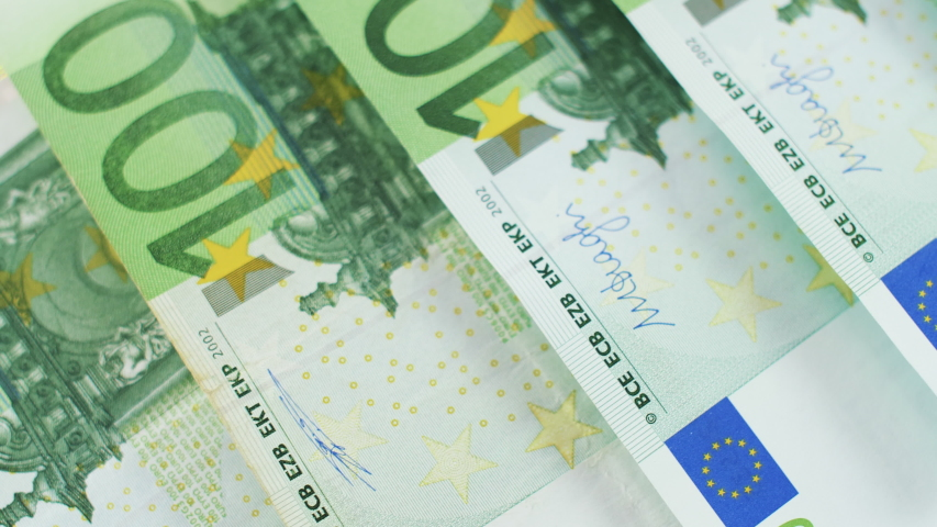 Close up of 100 euro money notes. Background with money euro bills. Cash money background. 4k footage.  | Shutterstock HD Video #1043521474