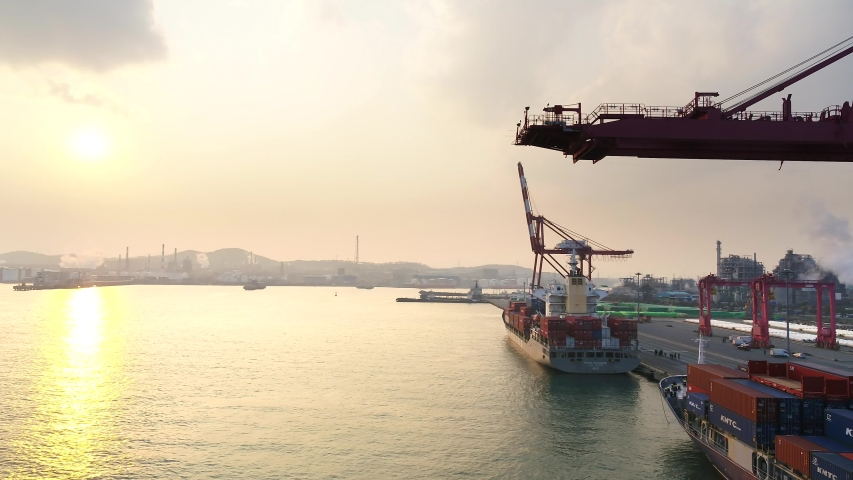 A Beautiful Sunset in the Container Terminal in Ulsan, S.Korea