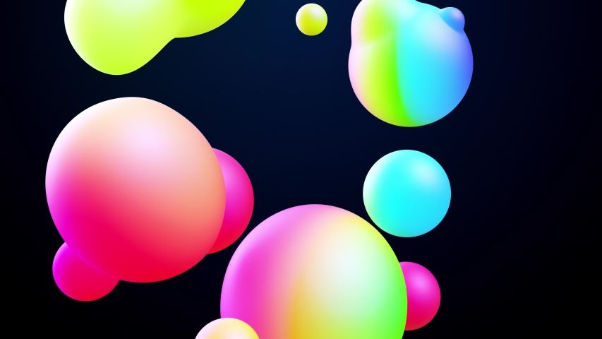 Abstract 3d background with beautiful colorful gradient on metaball, spheres circulate in air with inner glow, merge like drops of water. Abstract bubbles in liquid with glow gradient colors | Shutterstock HD Video #1043561281