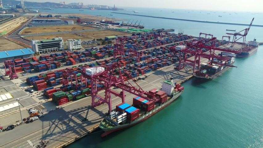 Drone shot of Container Terminal in Ulsan, S.Korea