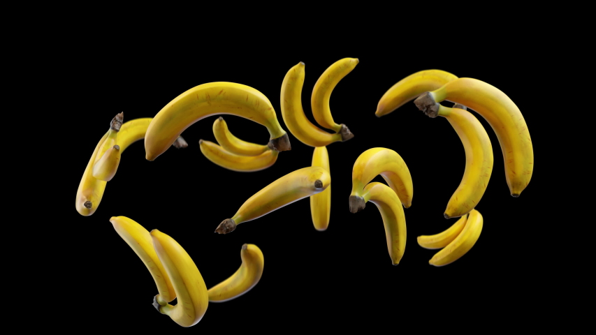Bananas tossed up in slow motion, hanging in air and falling down. Luma mask for background replacement. Healthy Diet Superfood Thrown from Below. | Shutterstock HD Video #1043574478