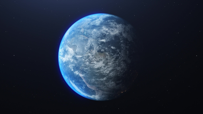 Planet earth from space. Planet earth rotating animation.3D Volumetric clouds.   Shutterstock HD Video #1043616955