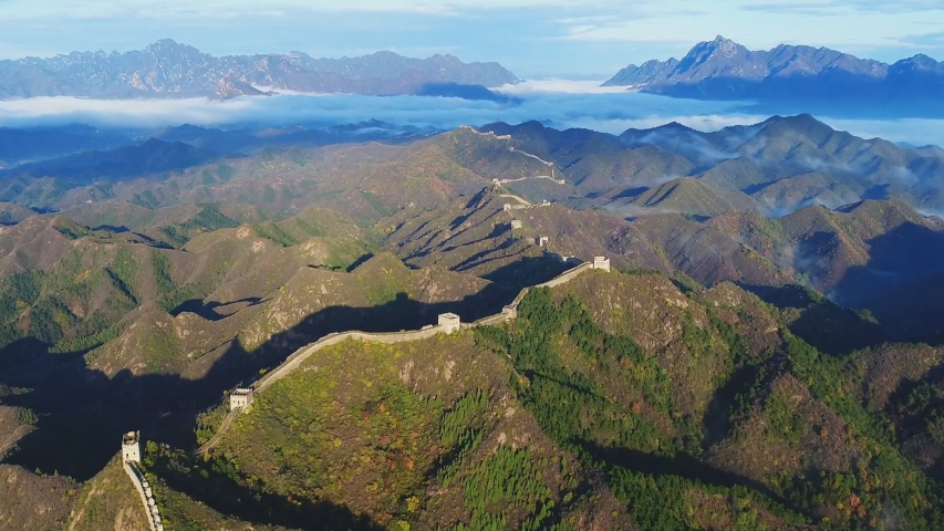 Aerial view of Great Wall of China. Famous landmark Great Wall and mountains located in Hebei province next to Beijing.