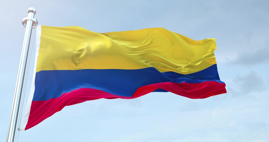Colombia Flag Waving loop 4K
