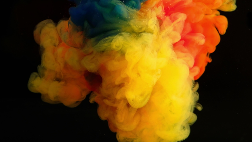 4K ,Color paint drops in water , abstract color mix , drop of Ink color mix paint falling on water Colorful ink in water, Ink splash swirling underwater isolated, 4K footage,