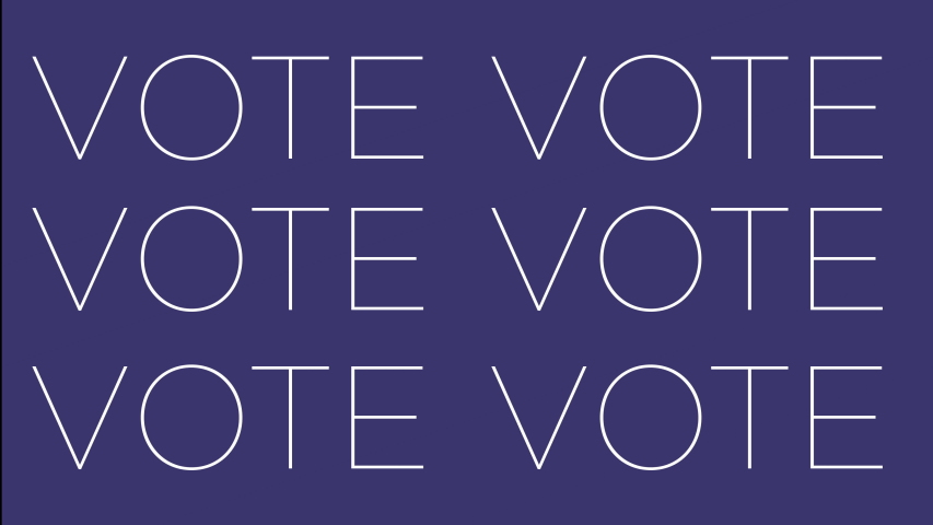 Vote kinetic animated text rallying voters to get out there and make their mark. 4K bright color pop text.