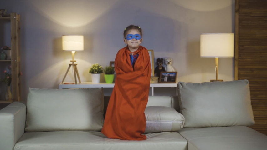Little Girl Baby Girl Playing Super Hero