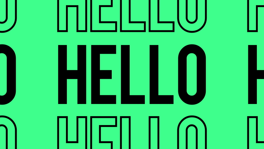 Hello Hi kinetic animated text. Great for social media background or insert splash of color into your edit.