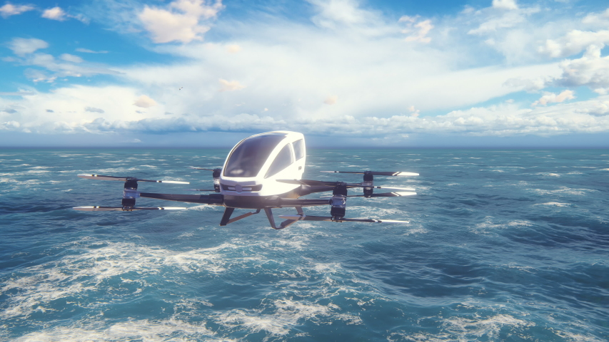 An unmanned passenger air taxi flies over the sea. The concept of the future driverless taxi. 3D rendering of animation. Royalty-Free Stock Footage #1043661910